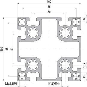 100 x 100 Aluminium Modular Profile - 8 Slots - DIY-Geek