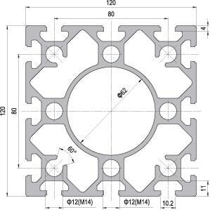 120 x 120 Aluminium Modular Profile - 12 Slots - DIY-Geek