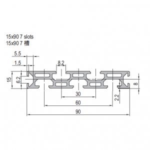15 x 90 Aluminium Modular Profile - 7 Slots - DIY-Geek