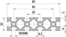 20 x 80 Aluminium Modular Profile - 10 Slots - DIY-Geek
