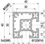 40 x 40 Aluminium Modular Profile - 2 Slots Type A - DIY-Geek