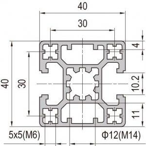 40 x 40 Aluminium Modular Profile - 2 Slots Type B - DIY-Geek