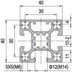 40 x 40 Aluminium Modular Profile - 3 Slots - DIY-Geek