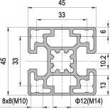 45 x 45 Aluminium Modular Profile - 2 Slots Tybe B - DIY-Geek