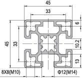 45 x 45 Aluminium Modular Profile - 3 Slots - DIY-Geek