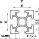 45 x 45 Aluminium Modular Profile - 4 Slots Light - DIY-Geek