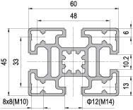 45 x 60 Aluminium Modular Profile - 4 Slots - DIY-Geek