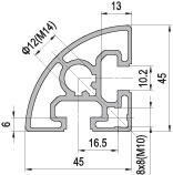 45 x R 90 Aluminium Modular Profile - 2 Slots - DIY-Geek