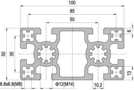 50 x 100 Aluminium Modular Profile - 6 Slots - DIY-Geek