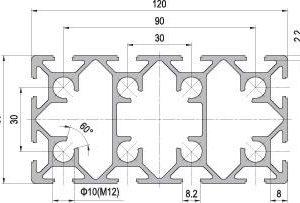 60 x 120 Aluminium Modular Profile - 12 Slots - DIY-Geek