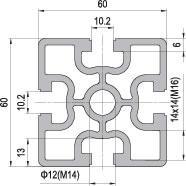 60 x 60 Aluminium Modular Profile - 4 Slots - DIY-Geek