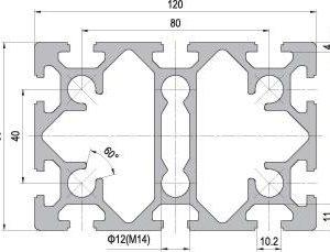 80 x 120 Aluminium Modular Profile - 10 Slots - DIY-Geek
