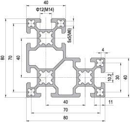 80 x 80 L Aluminium Modular Profile - 8 Slots - DIY-Geek