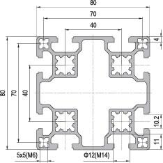 80 x 80 Aluminium Modular Profile - 8 Slots - DIY-Geek
