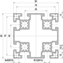 90 x 90 Aluminium Modular Profile - 8 Slots - DIY-Geek