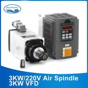 3kW Air Cooled Spindle Motor for CNC Router 220V/380V - ER20 Collet + 3kW VFD Inverter - DIY-Geek